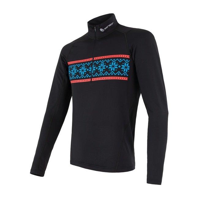 Sensor Thermo pánské triko dlouhý rukáv zip černá/vzor