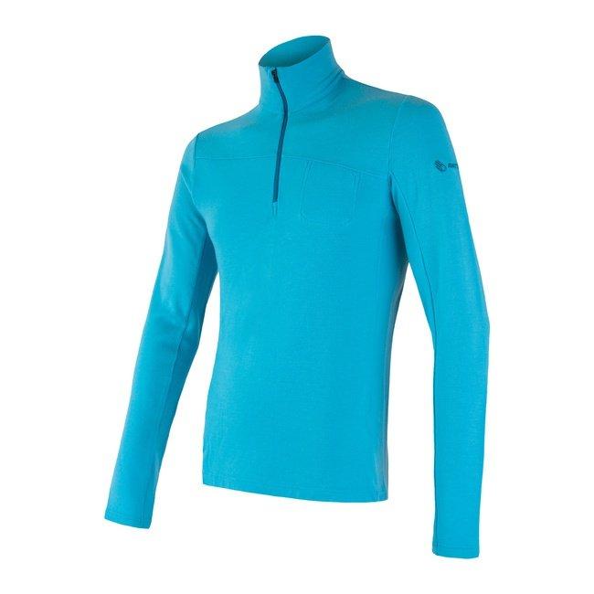 Sensor Merino Extreme pánské triko s dlouhým rukávem zip modrá