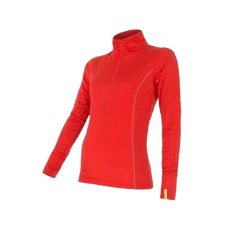 Sensor Merino Wool dl. rukáv zip červená